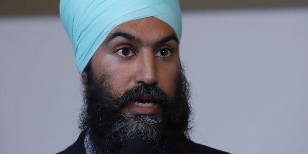 NDP Leader Jagmeet Singh talks to reporters after kicking off his first cross-country tour at a rally in Ottawa on Oct. 15, 2017.