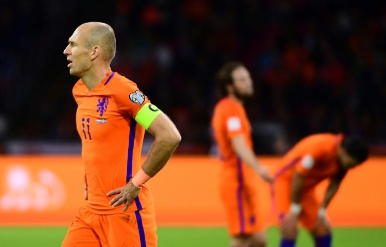The Netherlands' Arjen Robben reacts during their FIFA 2018 World Cup qualifier match against Sweden, at the Amsterdam Arena, on October 10, 2017