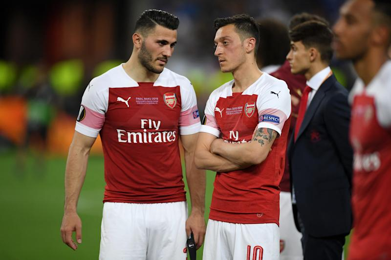 Sead Kolasinac and Mesut Ozil will not be available for Arsenal during the team's Premier League opener against Newcastle. (Photo by Michael Regan/Getty Images)