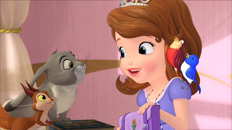 """This undated publicity photo released by Disney Junior, shows the character Princess Sofia, right, who stars in a TV animated movie titled """"Sofia the First: Once Upon a Princess,"""" airing Sunday, Nov. 18, 2012 (7:00-8:00 p.m., ET/PT)  on the Disney Channel. The primetime television movie special stars Ariel Winter (""""Modern Family"""") as the voice of Sofia, Sara Ramirez (""""Grey's Anatomy"""") as her mother, Queen Miranda; Wayne Brady (""""Let's Make A Deal"""") as Clover, a wise-talking Rabbit; and Tim Gunn (""""Project Runway"""") as Baileywick, the family's Royal Steward.  (AP Photo/Disney Junior)"""