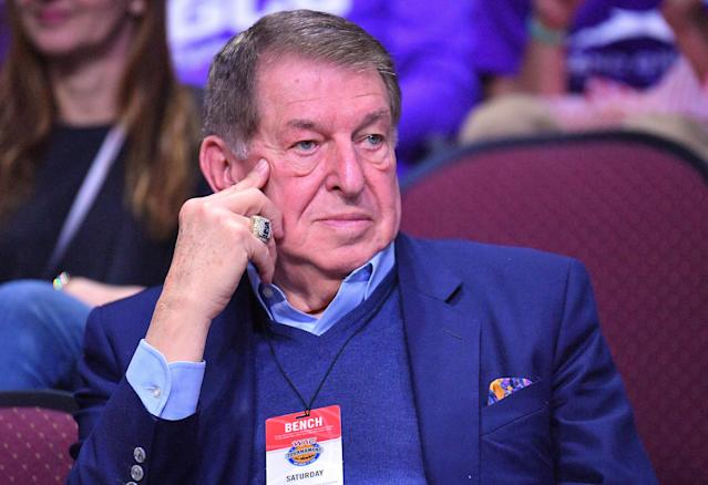 "<a class=""link rapid-noclick-resp"" href=""/nba/teams/phi"" data-ylk=""slk:Philadelphia 76ers"">Philadelphia 76ers</a> special adviser Jerry Colangelo said he thinks his son, Bryan, lost his job as the 76ers president earlier this year over ""nothing that he did."" (Getty Images)"