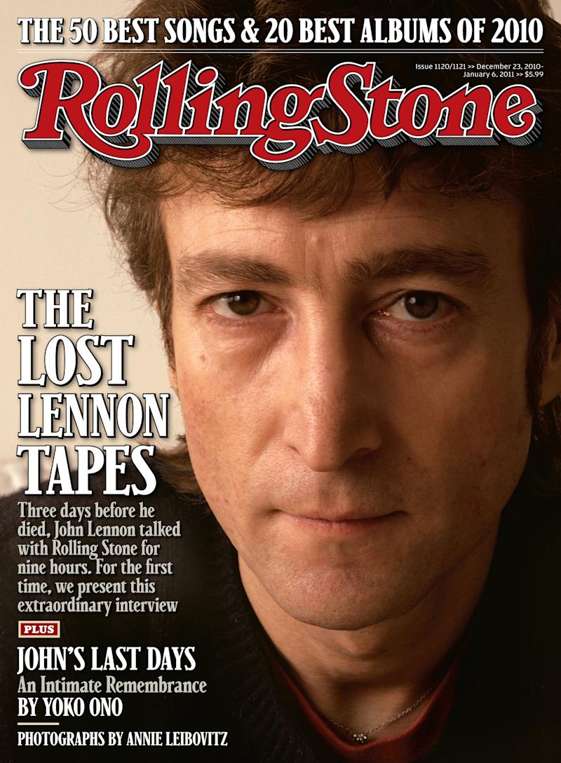 """In this magazine cover image of Rolling Stone, former Beatle John Lennon is shown on the cover of the Dec. 23, 2010 issue of """"Rolling Stone.""""  Rolling Stone is releasing John Lennon's final interview on the 30th anniversary of his death. Lennon talked to Rolling Stone on Dec. 5, 1980, just three days before he would be gunned down in front of his apartment building by Mark David Chapman. (AP Photo/Rolling Stone)"""