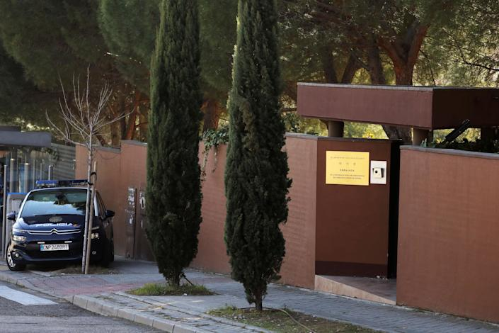 A Spanish National Police car sits outside the North Korean Embassy in Madrid on Feb. 28. (Photo: Sergio Perez/Reuters)