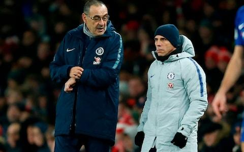 <span>Sarri looked concerned and annoyed with another lame performance from his team</span> <span>Credit: AFP </span>