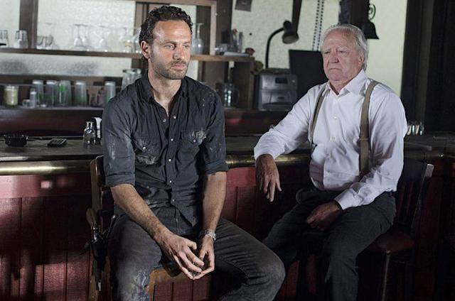 Andrew Lincoln as Rick Grimes and Scott Wilson as Hershel Greene in AMC's 'The Walking Dead' (Photo Credit: Gene Page/AMC)