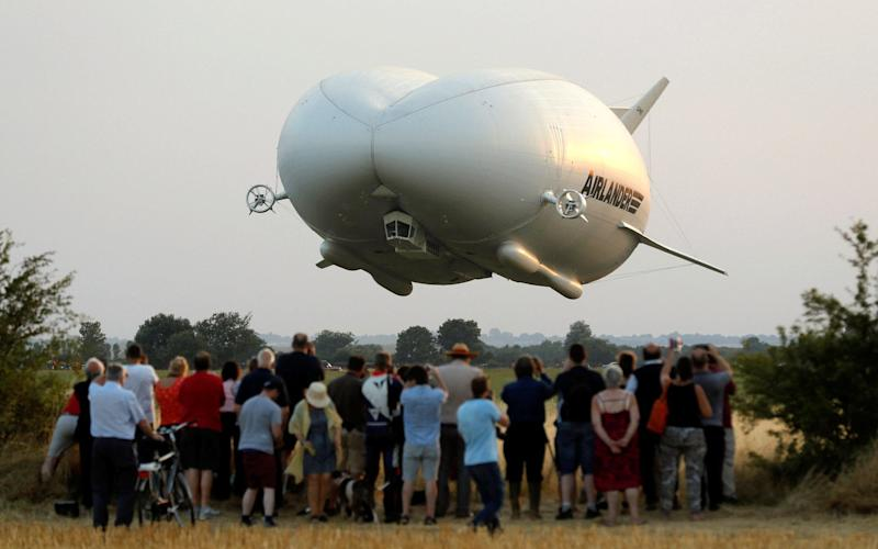 The Airlander 10 hybrid airship makes its maiden flight at Cardington Airfield in Britain, August 17, 2016 - Credit: DARREN STAPLES