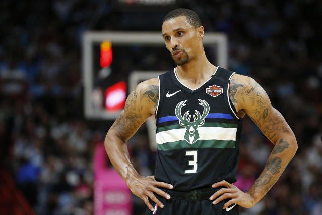 The last thing on George Hill's mind right now, amid the COVID-19 pandemic and massive protests following George Floyd's death, is basketball. (Michael Reaves/Getty Images)
