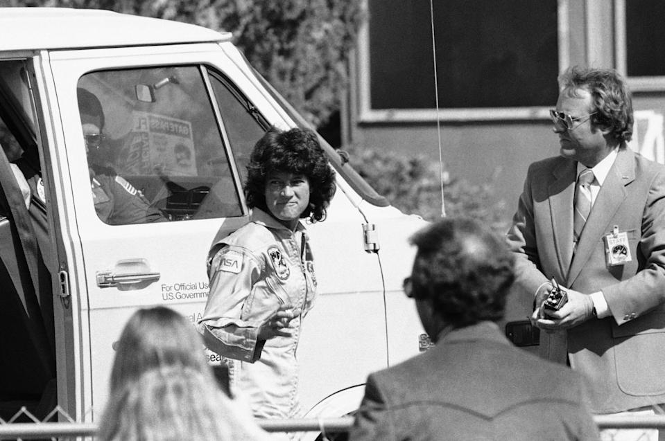Dr. Sally K. Ride waves to well-wishers after the completion of her historic ride in morning on Friday, June 24, 1983 in Edwards Air Force Base, Calif. (Photo: AP Photo)