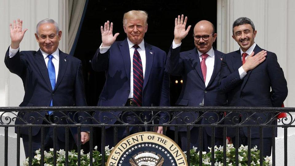(L-R) Prime Minister of Israel Benjamin Netanyahu, US President Donald Trump, Foreign Affairs Minister of Bahrain Abdullatif bin Rashid Al Zayani, and Foreign Affairs Minister of the UAE Abdullah bin Zayed bin Sultan Al Nahyan after the signing ceremony of the Abraham Accords at the White House on 15 September 2020.