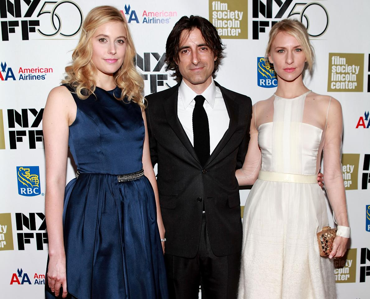 "NEW YORK, NY - SEPTEMBER 30:  (L-R) Greta Gerwig, Noah Baumbach and Mickey Sumner attend the ""Frances HA"" - Gala Presentation - 50th New York Film Festival at Alice Tully Hall on September 30, 2012 in New York City.  (Photo by Robin Marchant/Getty Images)"