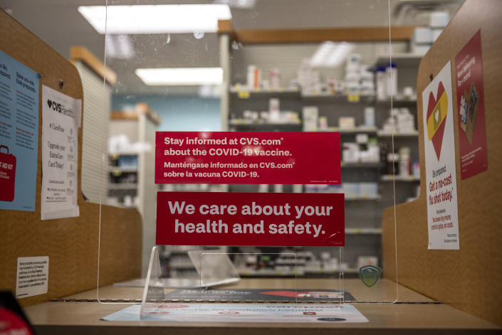 SAN ANTONIO, TX - MARCH 29: Information about the COVID-19 vaccine is displayed at a CVS Pharmacy on March 29, 2021 in San Antonio, Texas. Texas has opened up all vaccination eligibility to all adults starting today. Texas has had a slower roll out than some states and with the increase in eligibility leaders are hoping more and more citizens get vaccinated. (Photo by Sergio Flores/Getty Images)