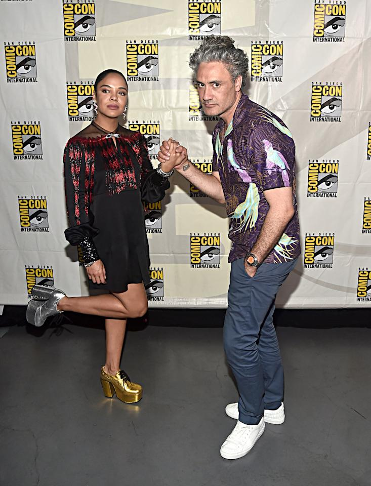 <p>Pictured: Tessa Thompson and Taika Waititi at San Diego Comic-Con.</p>