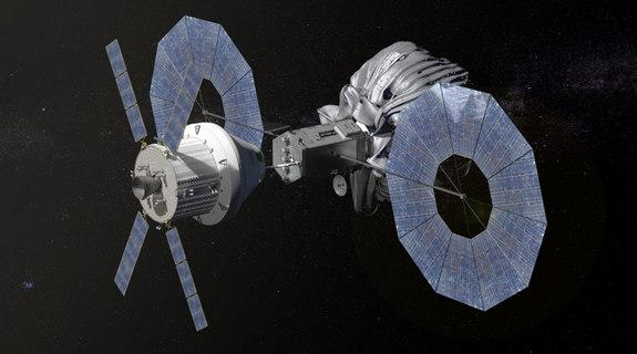 This conceptual image shows NASA's Orion spacecraft approaching the robotic asteroid capture vehicle. The trip from Earth to the captured asteroid will take Orion and its two-person crew an estimated nine days. Image released Aug. 22, 2013.