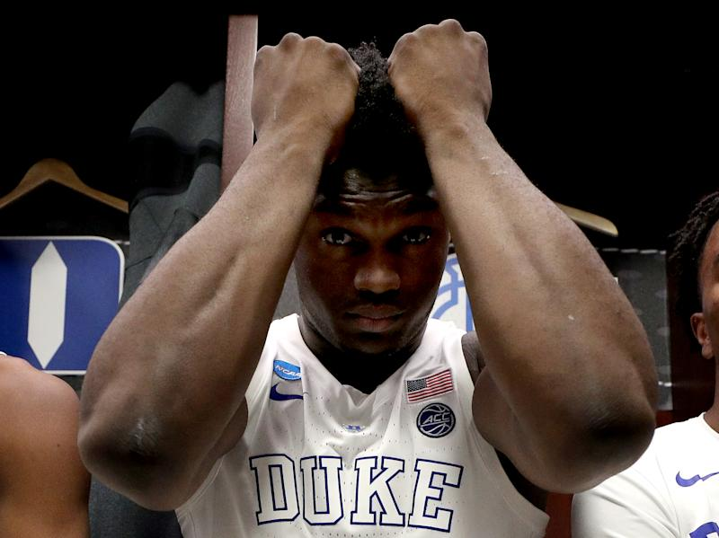 Zion Williamson of the Duke Blue Devils reacts after his team's 68-67 loss to the Michigan State Spartans in the 2019 NCAA basketball tournament. (Getty)