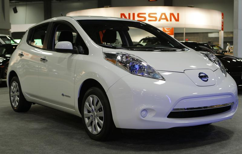 A 2013 all electric Nissan Leaf is seen at the Washington Auto Show