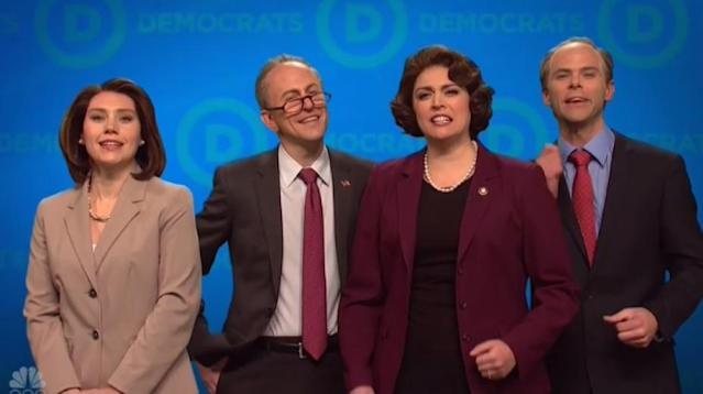 """Saturday Night Live"" has caught a glimpse of a possible Democratic future, and it's not a pretty sight ."