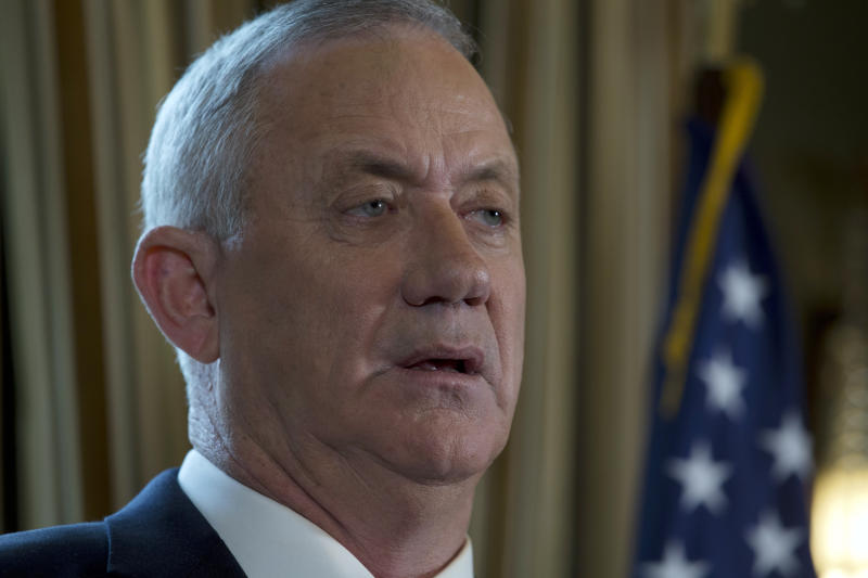 Israel Blue and White party leader Benny Gantz speaks during a news conference in Washington, Monday, Jan. 27, 2020, after meeting with President Donald Trump. (AP Photo/Jose Luis Magana)