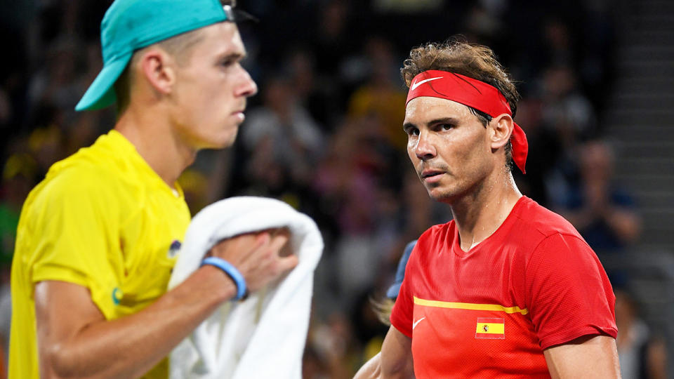 Alex de Minaur and Rafael Nadal, pictured here in action in their ATP Cup clash.