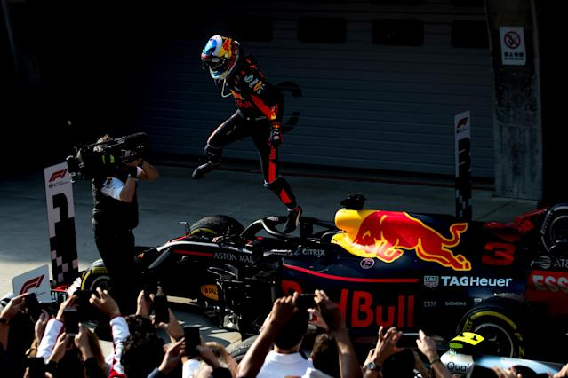 Super-fly guy: Daniel Ricciardo in exhuberant form after a stunning drive to victory in the 2018 Chinese Grand Prix
