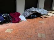A view of personal items of a homeless person living on the sides of busy streets in Wellington