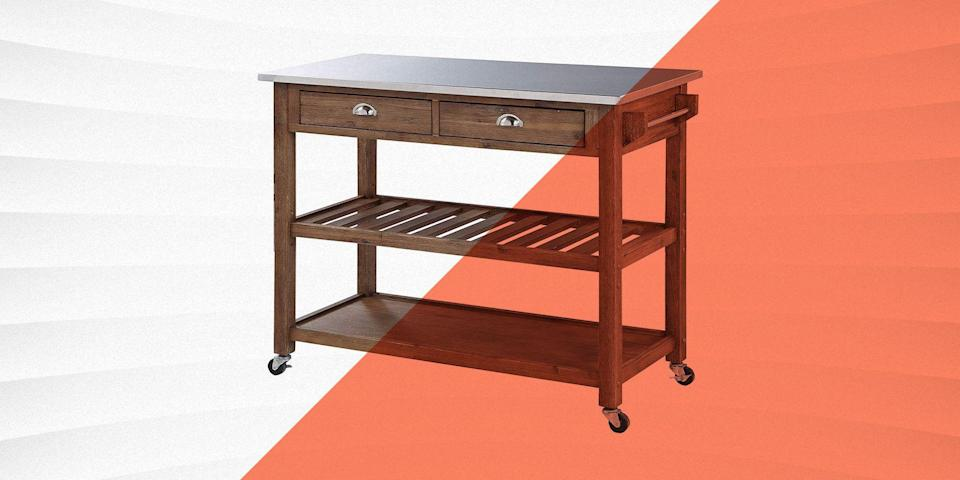 """<p>If you want to upgrade the aesthetics and functionality of your kitchen, adding a kitchen island is the fastest and easiest route to success. Kitchen islands not only add space for preparing meals, many include shelving and storage, which you can use for frequently used equipment or easy-grab pantry items.</p><h3 class=""""body-h3"""">What to Consider</h3><p>A kitchen island is a serious purchase, because this is an item that you will likely not just use but look at every single day. Keep the following in mind, and you'll end up with a great fit for your needs and space.</p><h4 class=""""body-h4""""><strong>Size</strong></h4><p>Measure your kitchen carefully to determine how much real estate an island could take up without compromising your family's ability to move around comfortably. If you can, cut paper or cardboard in a similar size and tape it to the ground to get a sense of how much space your kitchen island will take up. Most of our options are on wheels, so you can move them around to find the best location in your kitchen. </p><h4 class=""""body-h4""""><strong>Material</strong></h4><p>If you want to match the overall look of your island with your space, select the material (generally wood, wood composite, granite or a form of metal) carefully. Also keep the finish color in mind. </p><h4 class=""""body-h4""""><strong>Storage</strong></h4><p>We have islands with open shelves, and shelves behind closed doors. Keep what you'll be storing (and whether you want people to see it all the time) in mind before making your final choice. How many items do you need to store? Several of these islands come with copious space, and include options to store wine and spices.</p><h3 class=""""body-h3"""">How We Selected</h3><p>We reviewed hundreds of kitchen islands, and kept a variety of space, price, design and user needs in mind. We only included items with both positive critical and customer reviews.</p>"""