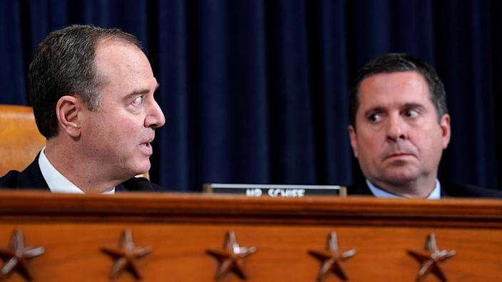 House Intelligence Committee Chairman Adam Schiff, left, and ranking Republican member Devin Nunes at the impeachment inquiry on Nov. 13. (Photo: Jonathan Ernst/Reuters)