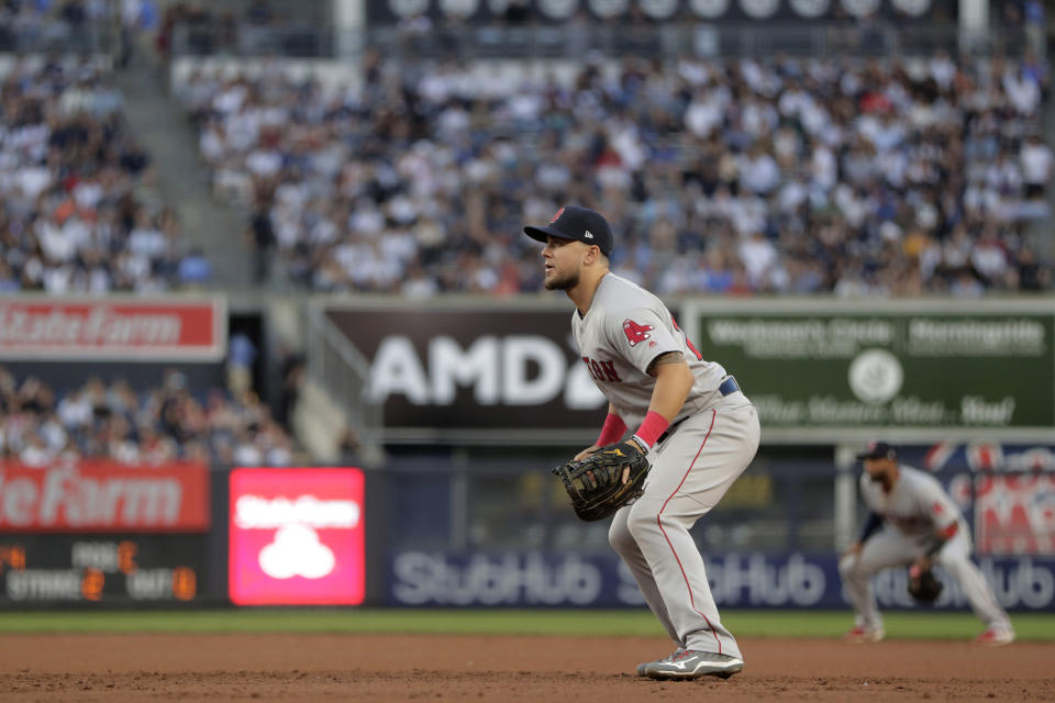 Boston Red Sox first baseman Michael Chavis waits for a pitch to New York Yankees' Gary Sanchez during the second inning of a baseball game, Friday, May 31, 2019, in New York. Chavis entered the game in the second inning after replacing starting first baseman first baseman Steve Pearce, who left the game with back spasms. (AP Photo/Julio Cortez)