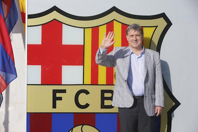 BARCELONA, SPAIN - JULY 25: FC Newly-appointed Barcelona's football coach Gerardo Daniel 'Tata' Martino faces the media during a press conference at the Sant Joan Despi Sports Complex on July 25, 2013 in Barcelona, Spain. (Photo by Miquel Benitez/Getty Images)