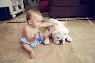 "<div class=""caption-credit"">Photo by: Rebecca Leimbach</div>A baby Harper bonds with Lola. <br>"