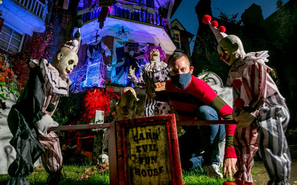 Ollie Slim of Brighton, Sussex in his dressed up Halloween garden - David McHugh / Brighton Pictures