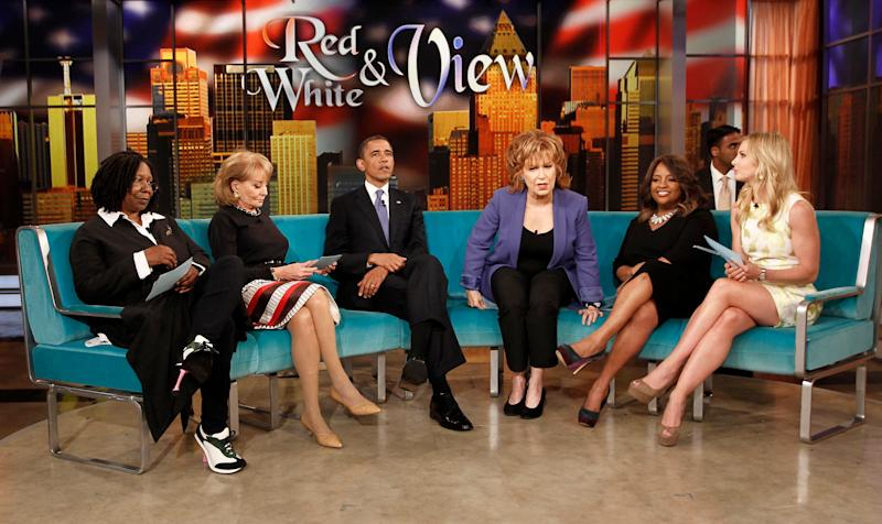 """President Barack Obama appears on the ABC's television show """"The View"""" in New York, Monday, May 14, 2012. From left are, Whoopi Goldberg, Barbara Walters, the president, Joy Behar, Sherri Shepherd and Elisabeth Hasselbeck. (AP Photo/Pablo Martinez Monsivais)"""