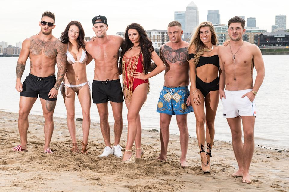 LONDON, ENGLAND - AUGUST 01:  (L-R) Ashleigh Cain, Jess Impiazzi, Gary Beadle, Charlotte Dawson, David Hawley, Lillie Lexi Gregg and Jordan Davies of 'Ex on The Beach' promote the series starting 16th August on August 1, 2016 in London, England.  (Photo by Ian Gavan/Getty Images)
