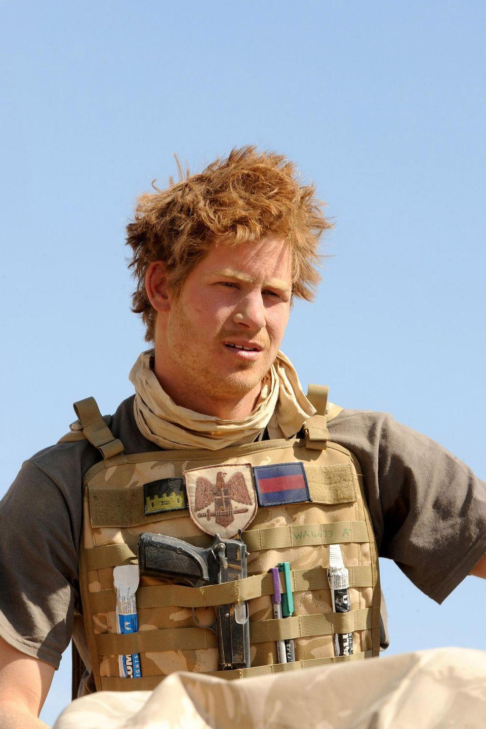 <p>Prince Harry is photographed on an armored vehicle in the desert of Afghanistan during his time in the Royal Military Academy. </p>