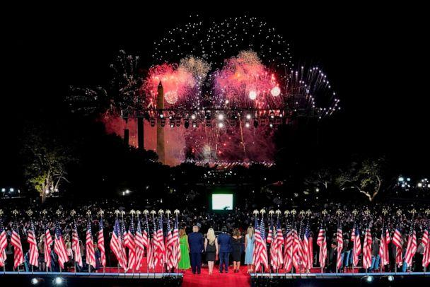 PHOTO: President Donald Trump and family members stand to watch fireworks after the president delivered his acceptance speech on the final day of the Republican National Convention from the South Lawn of the White House on Aug. 27, 2020, in Washington. (Doug Mills/Pool/AFP via Getty Images)