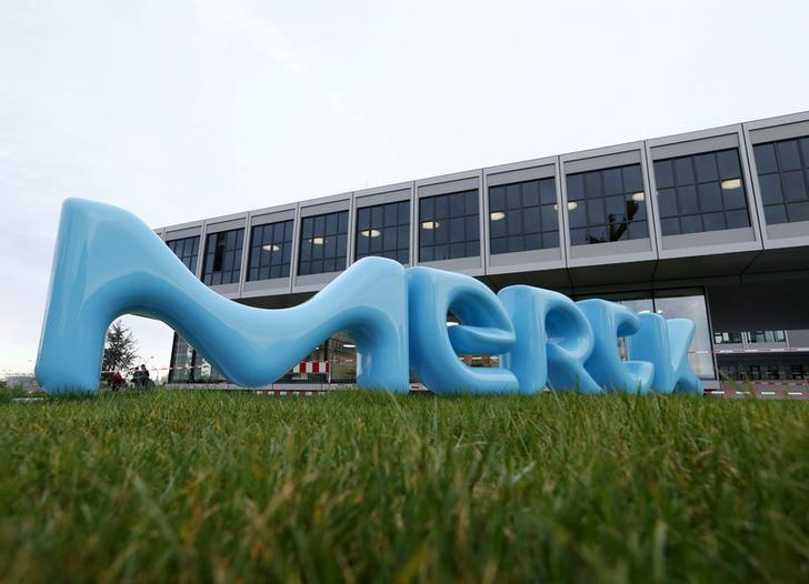 A logo of drugs and chemicals group Merck KGaA is pictured in Darmstadt