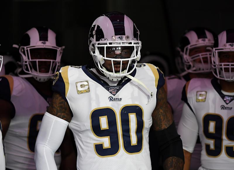 GLENDALE, ARIZONA - DECEMBER 01: Michael Brockers #90 of the Los Angeles Rams prepares to run onto the field for a game against the Arizona Cardinals at State Farm Stadium on December 01, 2019 in Glendale, Arizona. (Photo by Norm Hall/Getty Images)