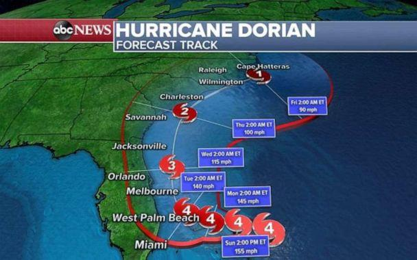 PHOTO: Hurricane Dorian's forecast track shows that it could make landfall nearly anywhere in the Southeast. (ABC News)