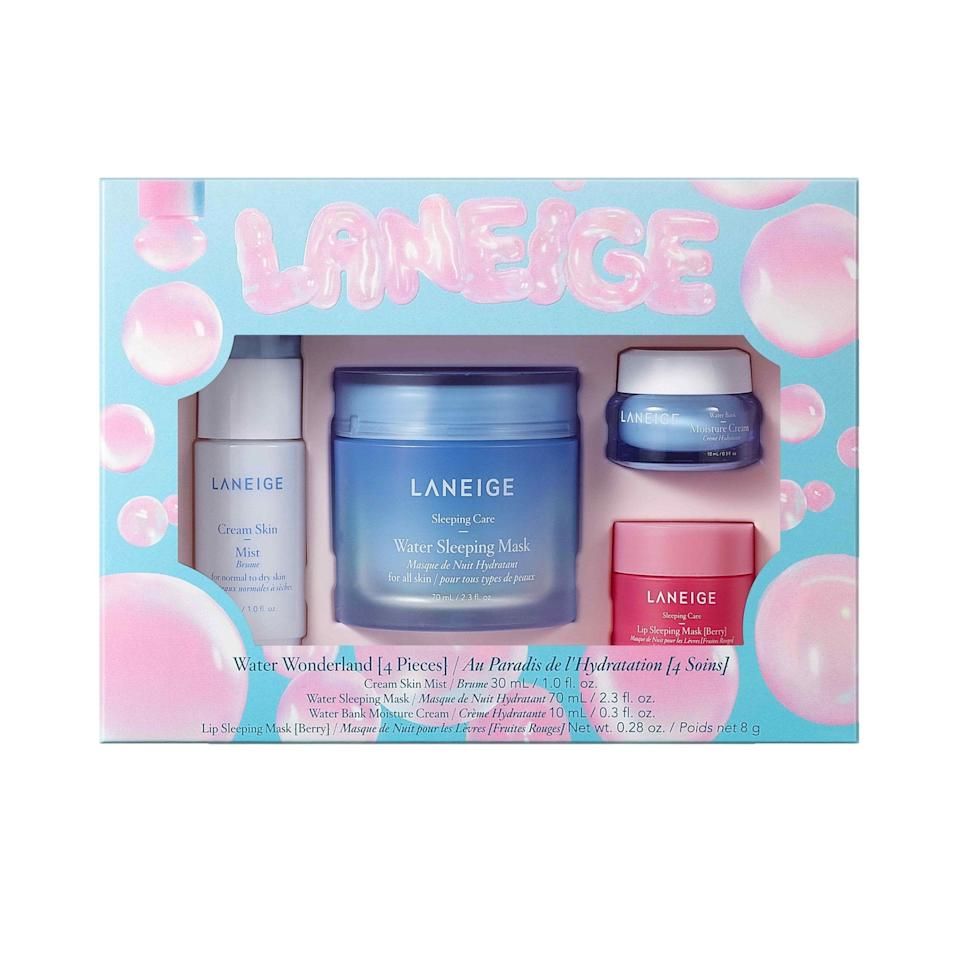 """<p>Everyone could use more moisture in their skin-care routines, and the Laneige Water Wonderland Set is packed with it in the form of a tiny spritz bottle of the brand's popular Cream Skin Mist and a small jar of the <a href=""""https://www.allure.com/review/laneige-water-bank-moisture-cream?mbid=synd_yahoo_rss"""" rel=""""nofollow noopener"""" target=""""_blank"""" data-ylk=""""slk:Water Bank Moisture Cream"""" class=""""link rapid-noclick-resp"""">Water Bank Moisture Cream</a>. The Best of Beauty Award-winning <a href=""""https://www.allure.com/review/laneige-water-sleeping-mask-review?mbid=synd_yahoo_rss"""" rel=""""nofollow noopener"""" target=""""_blank"""" data-ylk=""""slk:Water Sleeping Mask"""" class=""""link rapid-noclick-resp"""">Water Sleeping Mask</a> and <a href=""""https://www.allure.com/review/laneige-lip-sleeping-mask?mbid=synd_yahoo_rss"""" rel=""""nofollow noopener"""" target=""""_blank"""" data-ylk=""""slk:Lip Sleeping Mask"""" class=""""link rapid-noclick-resp"""">Lip Sleeping Mask</a> also make appearances in full-size form for overnight hydration success. </p> <p><strong>$39 (</strong><a href=""""https://www.sephora.com/product/laneige-water-wonderland-P462715"""" rel=""""nofollow noopener"""" target=""""_blank"""" data-ylk=""""slk:Shop Now"""" class=""""link rapid-noclick-resp""""><strong>Shop Now</strong></a><strong>)</strong> </p>"""