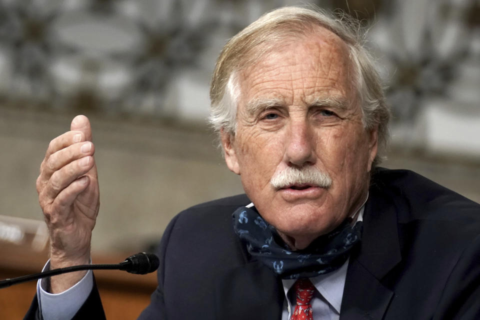 FILE - In this May 6, 2020 file photo, Sen. Angus King, I-Maine, asks questions during the Senate Armed Services Committee hearing on the Department of Defense Spectrum Policy and the Impact of the Federal Communications Commission's Ligado Decision on National Security during the COVID-19 coronavirus pandemic on Capitol Hill in Washington. A Senate bill that seeks to speed up philanthropic donations to charities appears to be gaining bipartisan support in Congress, taking aim at a popular charitable vehicle called donor-advised funds. DAFs allow donors to enjoy immediate tax deductions while investing their contributions tax-free. The bill, introduced by Sens. King and Chuck Grassley, an Iowa Republican, would make numerous reforms to DAFs by creating new categories of accounts, among other changes. (Greg Nash/Pool via AP)