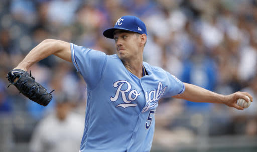 Kansas City Royals starting pitcher Eric Skoglund throws during the first inning of a baseball game against the New York Yankees, Sunday, May 20, 2018, in Kansas City, Mo. (AP Photo/Charlie Riedel)
