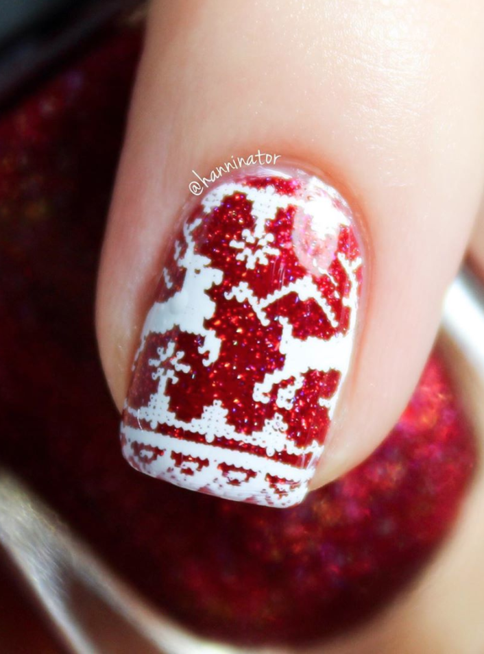 "<p>We're loving this ""ugly"" Christmas sweater motif in manicure form by <a href=""https://www.instagram.com/hanninator/"" rel=""nofollow noopener"" target=""_blank"" data-ylk=""slk:nail artist Hanna"" class=""link rapid-noclick-resp"">nail artist Hanna</a>—who recommends <a href=""https://www.amazon.com/ILNP-Say-Love-Holographic-Resistant/dp/B081P2BS7S?tag=syn-yahoo-20&ascsubtag=%5Bartid%7C10072.g.34113691%5Bsrc%7Cyahoo-us"" rel=""nofollow noopener"" target=""_blank"" data-ylk=""slk:INLP's &quot;say love&quot; polish"" class=""link rapid-noclick-resp"">INLP's ""say love"" polish</a> as the base color and using a stamp for the design.</p><p><a class=""link rapid-noclick-resp"" href=""https://www.amazon.com/Whats-Up-Nails-Stamping-Christmas/dp/B077D293VQ?tag=syn-yahoo-20&ascsubtag=%5Bartid%7C10072.g.34113691%5Bsrc%7Cyahoo-us"" rel=""nofollow noopener"" target=""_blank"" data-ylk=""slk:SHOP NAIL STAMP""> SHOP NAIL STAMP</a></p>"
