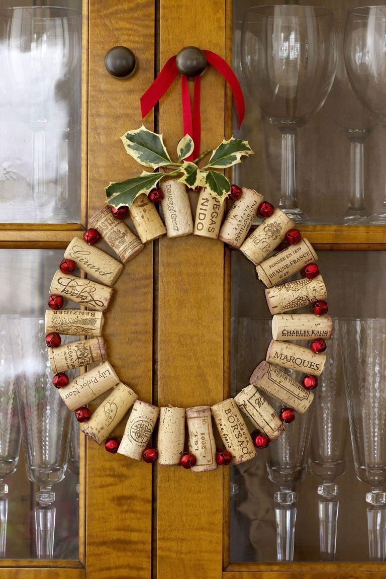 "<p>Bring on the holiday cheer with this wreath made of wine corks strung together with <a href=""https://www.amazon.com/Zhanmai-Jingle-Holiday-Christmas-Decoration/dp/B07JQFYKL3/ref=sr_1_2?tag=syn-yahoo-20&ascsubtag=%5Bartid%7C10055.g.2361%5Bsrc%7Cyahoo-us"" rel=""nofollow noopener"" target=""_blank"" data-ylk=""slk:red jingle bells"" class=""link rapid-noclick-resp"">red jingle bells</a>.<br></p><p><em><a href=""https://www.goodhousekeeping.com/holidays/christmas-ideas/g1943/christmas-wreath-projects/"" rel=""nofollow noopener"" target=""_blank"" data-ylk=""slk:Get the tutorial »"" class=""link rapid-noclick-resp"">Get the tutorial »</a></em></p>"
