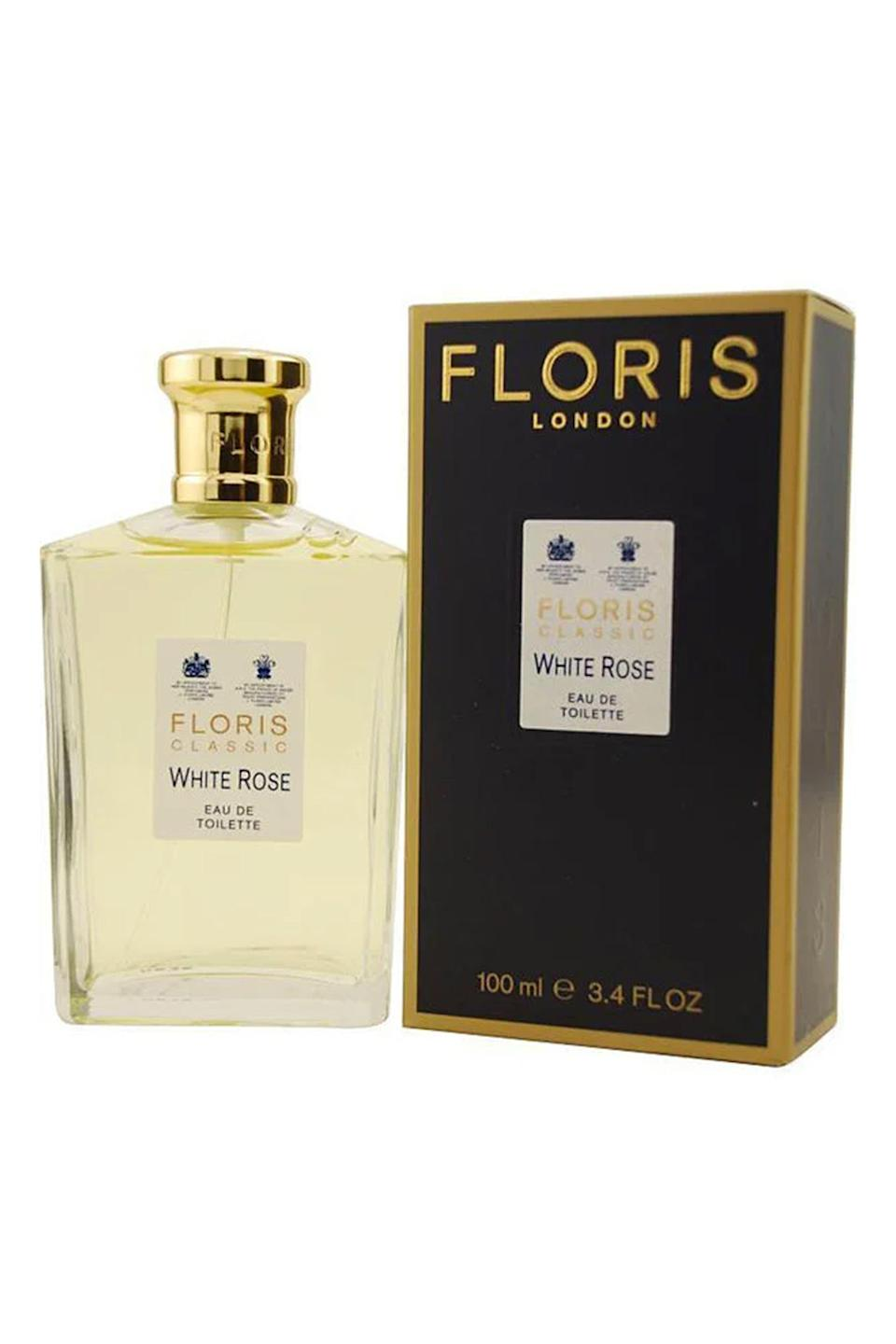 """<p><strong>Floris London</strong></p><p>overstock.com</p><p><strong>$89.99</strong></p><p><a href=""""https://go.redirectingat.com?id=74968X1596630&url=https%3A%2F%2Fwww.overstock.com%2FHealth-Beauty%2FFloris-White-Rose-Womens-3.4-ounce-Eau-de-Toilette-Spray%2F4354054%2Fproduct.html&sref=https%3A%2F%2Fwww.townandcountrymag.com%2Fstyle%2Fbeauty-products%2Fg28567503%2Fqueen-elizabeth-favorite-beauty-products%2F"""" rel=""""nofollow noopener"""" target=""""_blank"""" data-ylk=""""slk:Shop Now"""" class=""""link rapid-noclick-resp"""">Shop Now</a></p><p>According to <a href=""""https://www.florislondon.com/en_eur/history-of-floris"""" rel=""""nofollow noopener"""" target=""""_blank"""" data-ylk=""""slk:Floris"""" class=""""link rapid-noclick-resp"""">Floris</a>, the likes of <em>Frankenstein</em> author Mary Shelley, King George IV, and Florence Nightingale were all devotees—meaning that Queen Elizabeth is in good company. Floris has a royal warrant from the Queen, as her """"perfumers,"""" and although she's never mentioned the scent she's keen on, we're betting on the floral White Rose.</p>"""