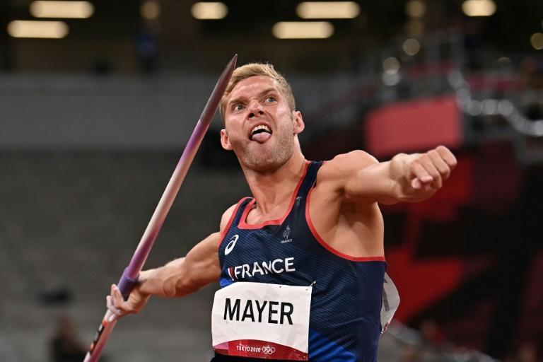A personal best javelin throw helped Kevin Mayer to get into the decathlon medals