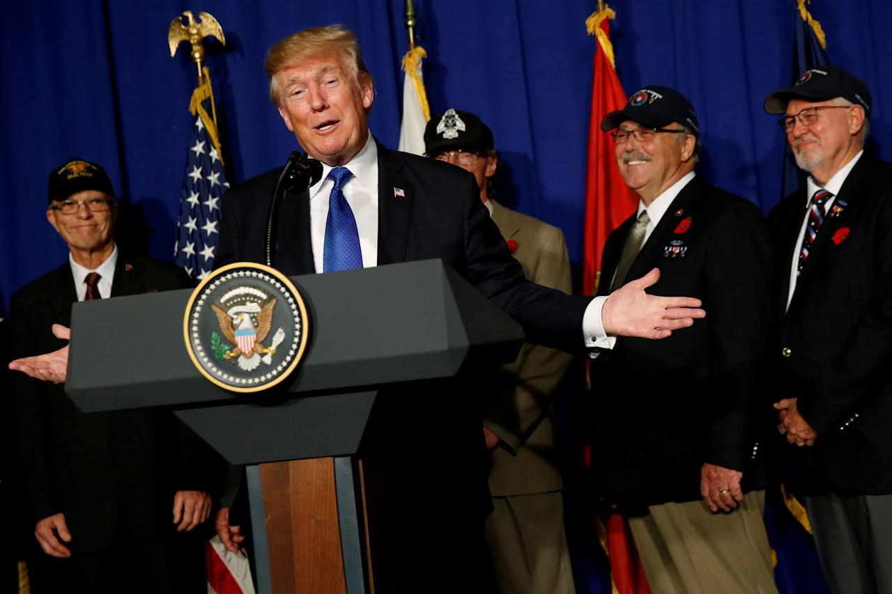 <p>President Donald Trump delivers remarks before signing a proclamation commemorating the 50th anniversary of the Vietnam War during an event with U.S. military veterans in Danang, Vietnam, Nov. 10, 2017. (Photo: Jonathan Ernst/Reuters) </p>