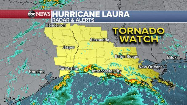 PHOTO: Due to the strength of Hurricane Laura, there is the increasing threat of tornadoes from East Texas to across parts of central Louisiana. (ABC News)