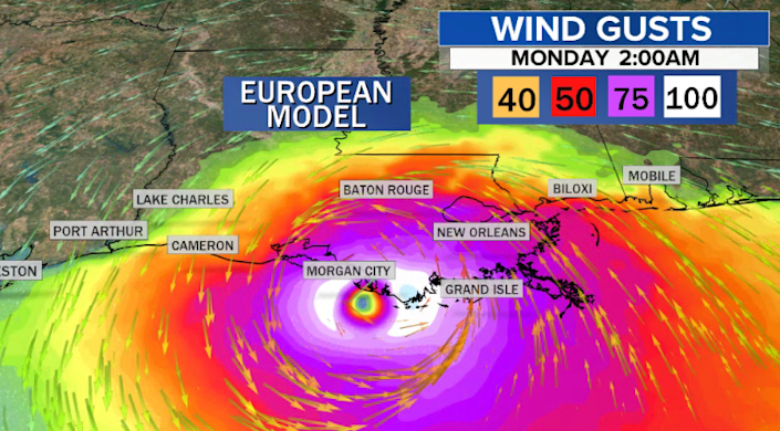 The European model forecasting wind gusts from Ida. / Credit: CBS News