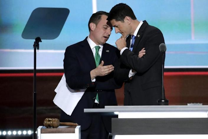 House Speaker Paul Ryan and Reince Priebus, chairman of the Republican National Committee, at the Republican National Convention in Cleveland, July 19, 2016. (Photo: J. Scott Applewhite/AP)