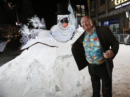 """Lasseter, chief creative officer at Pixar and Walt Disney animation studios, poses at the premiere of """"Frozen"""" at El Capitan theatre in Hollywood"""