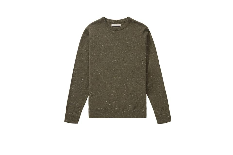 "$130, Everlane. <a href=""https://www.everlane.com/products/mens-cashmere-crew-loden-donegal?collection=mens-sale"" rel=""nofollow noopener"" target=""_blank"" data-ylk=""slk:Get it now!"" class=""link rapid-noclick-resp"">Get it now!</a>"